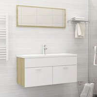 Bathroom Furniture Set White and Sonoma Oak Chipboard21778-Serial number