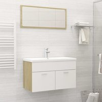 Betterlifegb - Bathroom Furniture Set White and Sonoma Oak Chipboard22160-Serial number