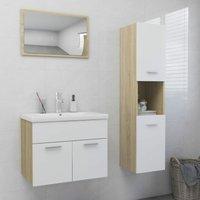 Bathroom Furniture Set White and Sonoma Oak Chipboard22223-Serial number