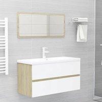 Betterlifegb - Bathroom Furniture Set White and Sonoma Oak Chipboard22479-Serial number