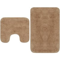 Bathroom Mat Set 2 Pieces Fabric Beige