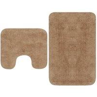 vidaXL Bathroom Mat Set 2 Pieces Fabric Beige - Beige