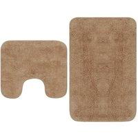Bathroom Mat Set 2 Pieces Fabric Beige1033-Serial number