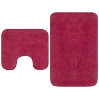 Bathroom Mat Set 2 Pieces Fabric Fuchsia