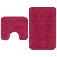 vidaXL Bathroom Mat Set 2 Pieces Fabric Fuchsia - Pink