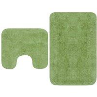 Bathroom Mat Set 2 Pieces Fabric Green