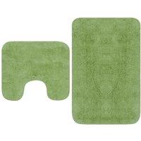 Bathroom Mat Set 2 Pieces Fabric Green - VIDAXL