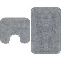 Zqyrlar - Bathroom Mat Set 2 Pieces Fabric Grey - Grey