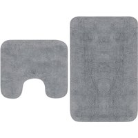 Bathroom Mat Set 2 Pieces Fabric Grey - VIDAXL
