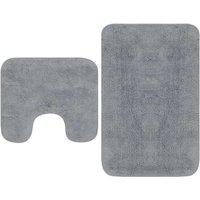 Bathroom Mat Set 2 Pieces Fabric Grey - ASUPERMALL