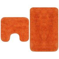 Bathroom Mat Set 2 Pieces Fabric Orange