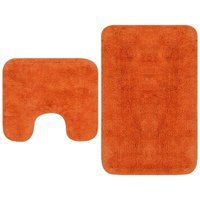 Bathroom Mat Set 2 Pieces Fabric Orange - Orange