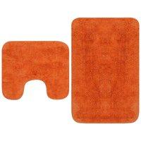 Bathroom Mat Set 2 Pieces Fabric Orange - Orange - Vidaxl