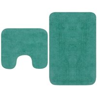 Bathroom Mat Set 2 Pieces Fabric Turquoise - YOUTHUP