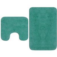 Bathroom Mat Set 2 Pieces Fabric Turquoise - Turquoise