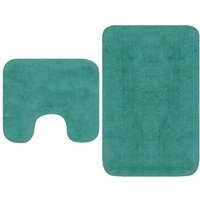Bathroom Mat Set 2 Pieces Fabric Turquoise1038-Serial number