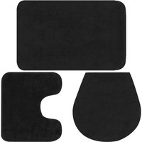 Bathroom Mat Set 3 Pieces Fabric Anthracite - Grey