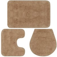 Bathroom Mat Set 3 Pieces Fabric Beige