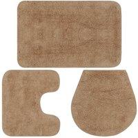 Bathroom Mat Set 3 Pieces Fabric Beige - Beige
