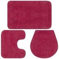 Bathroom Mat Set 3 Pieces Fabric Fuchsia