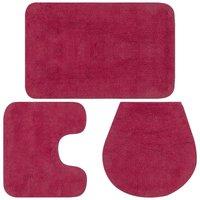 Bathroom Mat Set 3 Pieces Fabric Fuchsia - ASUPERMALL