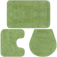 Bathroom Mat Set 3 Pieces Fabric Green