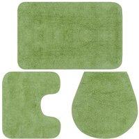 Bathroom Mat Set 3 Pieces Fabric Green - Green - Vidaxl