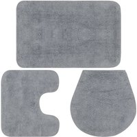 Bathroom Mat Set 3 Pieces Fabric Grey