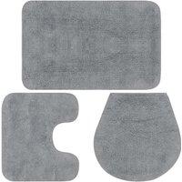 Bathroom Mat Set 3 Pieces Fabric Grey - Grey