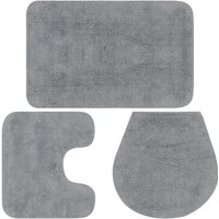 Bathroom Mat Set 3 Pieces Fabric Grey - Grey - Vidaxl
