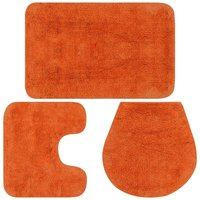 Bathroom Mat Set 3 Pieces Fabric Orange - Orange