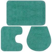 Bathroom Mat Set 3 Pieces Fabric Turquoise