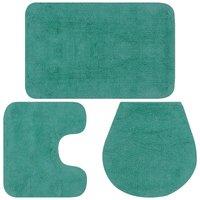 Bathroom Mat Set 3 Pieces Fabric Turquoise - Turquoise - Vidaxl