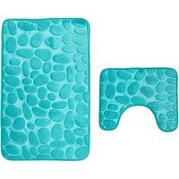 Bearsu - Bathroom Mats 2-Piece Non-Slip Washable Bath Mat Set, Bath Mat and Pedestal Mat, 80 x 50 cm, Aqua