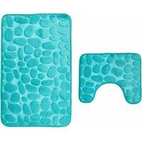 Bathroom mats, 2-piece, non-slip washable. Bath rug set, bath mat and toilet rug Aqua