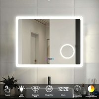 Aica - Bathroom Mirror LED Illuminated Lights with Demister Pad Clock 3X Magnifier