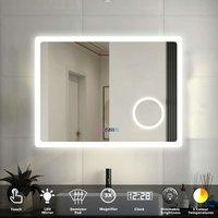Bathroom Mirror LED Illuminated Lights with Demister Pad Clock 3X Magnifier