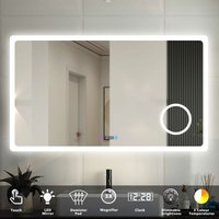 Bathroom Mirror LED Illuminated Lights with Demister Pad Clock 3X Magnifier