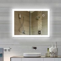 Bathroom mirror LED mirror with lighting through frosted light surfaces Bathroom mirror (90 * 70 cm, cool white) - DAZHOM