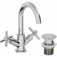 Bathroom Mono Basin Mixer Tap Waste Modern Cross Head Handle - ARCHITECKT
