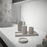 Bathroom Set 5 Piece Accessory Tray Soap Dish Dispenser Toilet Brush Tumbler