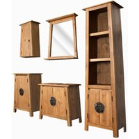 Bathroom Set 5 Pieces Solid Recycled Pinewood - ASUPERMALL