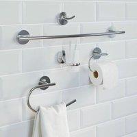 Bathroom Set Tumbler Towel Ring Towel Rail Robe Hook Toilet Roll Holder Chrome
