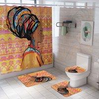 Bathroom Shower Curtain Telescopic Rod Holder with Bathroom Non-slip Floor Mat Set (Type2)