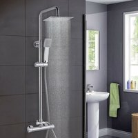Bathroom Shower Mixer Thermostatic Set Twin Head Chrome Exposed Valve Square Set - Aica