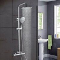Bathroom Shower Mixer Thermostatic Set Twin Head Chrome Exposed Valve Round Set - Aica
