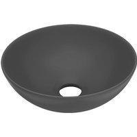 Bathroom Sink Ceramic Dark Grey Round - Grey - Vidaxl