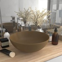 vidaXL Bathroom Sink Ceramic Matt Cream Round - Cream