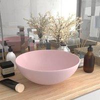 Zqyrlar - Bathroom Sink Ceramic Matt Pink Round - Pink
