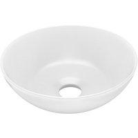 vidaXL Bathroom Sink Ceramic Matt White Round - White